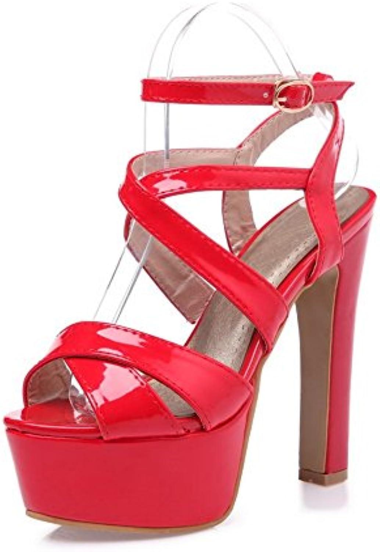 AdeeSu Mesdames Cross-Body-Strap Cross-Body-Strap Mesdames High-Heels Polyuréthane  s Rouge, 37 EU, SLC00430B01G9M0F34Parent 3ab71c