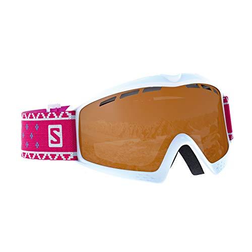 Salomon Kiwi Access Skibrille, für Kinder (3-6 Jahre), bewölktes Wetter, orangefarbene Scheibe (auswechselbar), Airflow System, weiß, L39911100