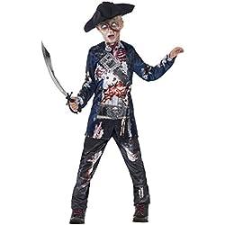 Smiffy's Smiffys-44318S Disfraz de Pirata podrido Deluxe, con Parte de Arriba, pantalón y Sombrero, impr, Color Negro, S - Edad 4-6 años 44318S