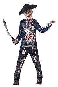 Smiffys-44318L Disfraz de Pirata podrido Deluxe, con Parte de Arriba, pantalón y Sombrero, impr, Color Negro, L-Edad 10-12 años (Smiffy