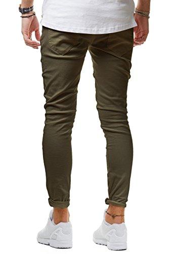 EightyFive Herren Jeans Denim Hose Slim Fit Destroyed Zerrissen Schwarz Weiß Khaki EF1512 Khaki