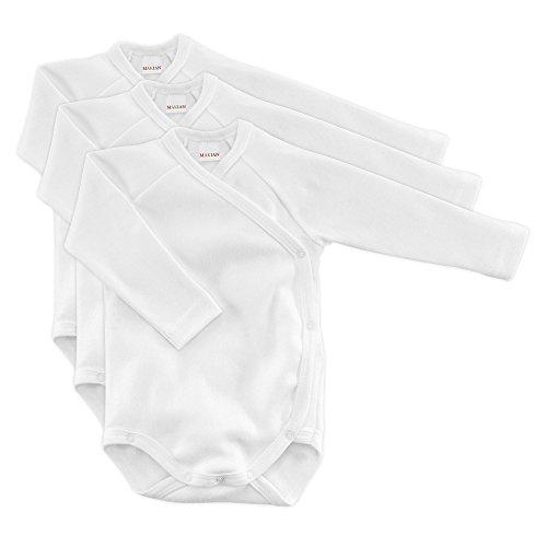 MAKIAN Baby Wickelbody Langarm Weiß - 3er Pack - 100{4c2ded40951cc370b800f399e7666ddacad57a173daa11eab48f7fe6c24fd79d} Baumwolle/Öko-Tex Standard 100/Unisex (50/56)