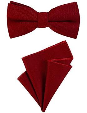 DonDon Pajarita para caballero 12 x 6 cm, atada y de tamaño ajustable, y pañuelo de bolsillo de 23 x 23 cm a juego...