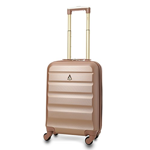 Trolley Aerolite ABS - Unico e riconoscibile bagaglio a mano 55x35x20 cm - Valigia rigida con 4 ruote - Ideale a bordo di Ryanair, Alitalia, Meridiana, EasyJet, WizzAir (Rosa Oro)