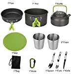 Aitsite Camping Cookware Kit Outdoor Aluminum Lightweight Camping Pot Pan Cooking Set for Camping Hiking 9