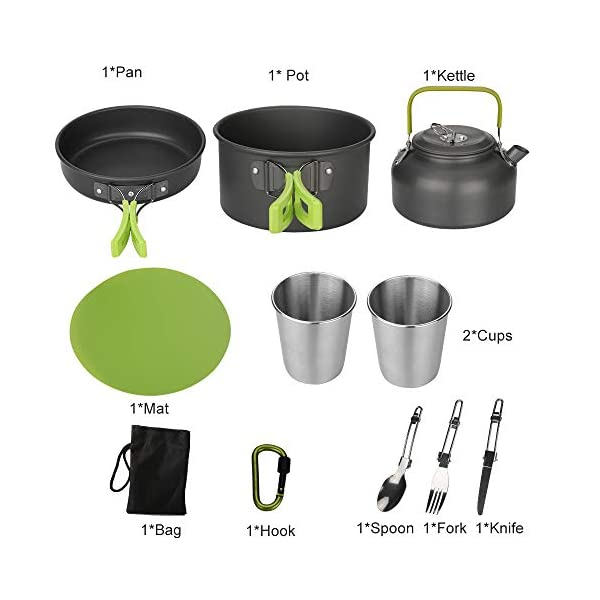 Aitsite Camping Cookware Kit Outdoor Aluminum Lightweight Camping Pot Pan Cooking Set for Camping Hiking 2