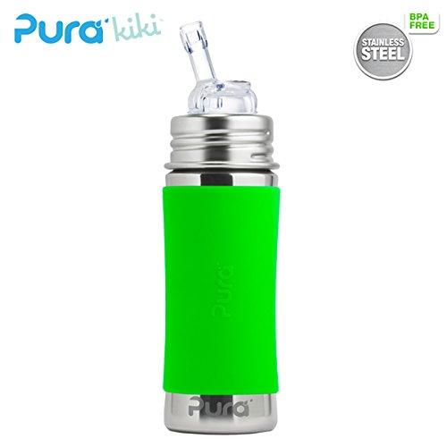 Pura Kiki Borraccia 325ML-Cannuccia Aufsatz (con tappo di protezione) pura colore/Design Blank + rivestimento verde