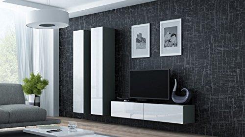 Wohnwand ' Vigo 9' Hochglanz Hängeschrank Lowboard , Farbe:Grau . Weiß