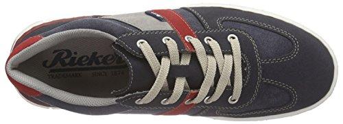 Rieker 18920 Sneakers-men, Baskets Basses homme Bleu - Blau (navy/navy/fire/staub / 15)