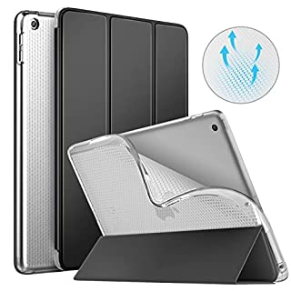MoKo Hülle Kompatible mit iPad 9.7 2018/2017, Schutzhülle mit Durchscheinender Rückseite aus Weichem TPU, Dreifach Gefaltet Case für iPad 9.7