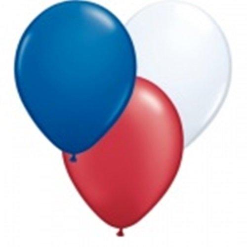 Deko Australien 30 Luftballons je 10x rot, weiß und blau ca. 28 cm Latexballon, 30 Ballonverschlüsse BV10 weiß für Dekorationen und EIN Aufblasventil sowie Infoblatt ()