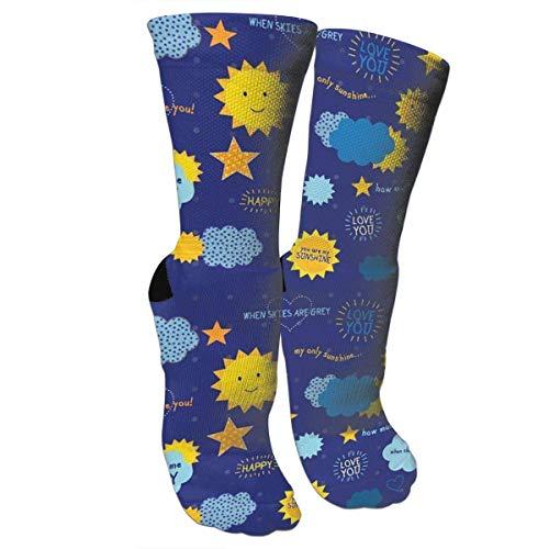Jxrodekz Calcetines Unisex Coloridos Estampados Calcetines de compresión para Usted Son My Sunshine Happy Crew Calcetines