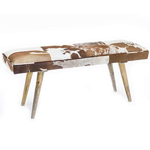 FineBuy Sitzbank innen aus echtem Ziegenfell Braun Weiß 120 x 40 x 52cm | Design Flurbank Deko | Bank für Schlafzimmer gepolstert Landhaus Polsterbank -