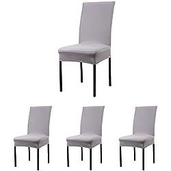 CosyVie - 4 PCS Fundas para sillas de salon fundas elasticas para sillas de comedor, gris