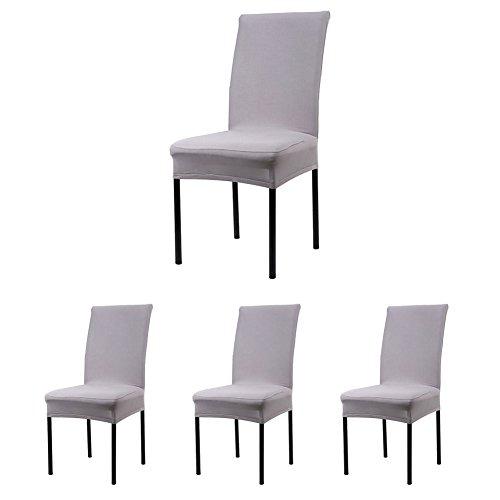 Cosyvie - Custodie Copertine Fodere coprisedia elasticizzato di sedia espandibili e lavabili per protezione Sedia sala da pranzo grigio, 4PCS