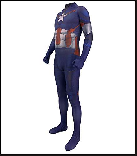 America Kostüm Captain Frauen - HEROMEN Avengers 4 Captain America Cosplay Kostüm Siamese Tights Weihnachten Halloween Kleidung Für Erwachsene/Kinder,BlueChild-XXL