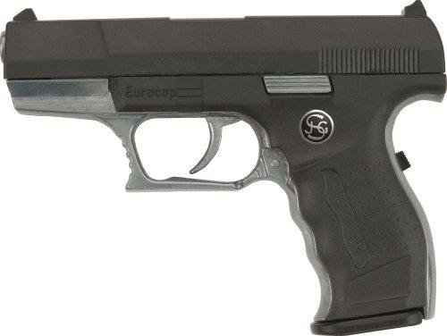 J.G.Schrödel Euro-Cop Pistole: Spielzeugpistole für Zündplättchen, ideal für das Polizeikostüm, 13 Schuss, auf Tester, 16.5 cm, schwarz (306 0961) (Cop Und Gangster Kostüm)
