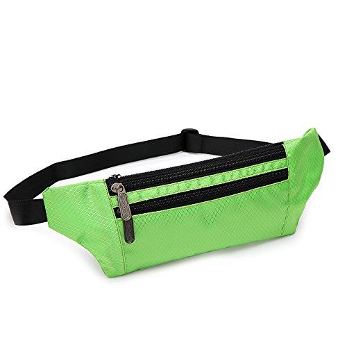 KANG@ Sport Taille Pack Multifunktions Running Männer und Frauen Outdoor Handy Tasche Anti-Diebstahl intime Stealth wasserdicht Beutel Hellgrün