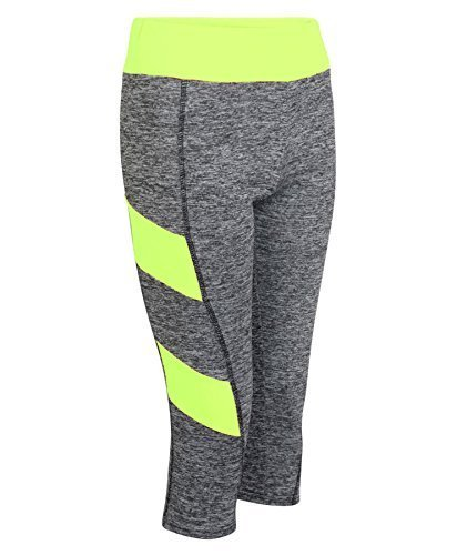 LotMart Damen Weste Tank Capri Leggings Damen Active wadenhoch Hose eng Yoga Top - Leggings neongelb, S-M (EU36/38 UK8/10 US4/6) (Print Capri Leggings)