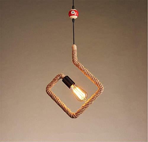 DGHDFH Kronleuchter Deckenleuchte Industrie Retro Kreative Persönlichkeit Billard Hanfseil Quadratische Form Kleine Pendelleuchte Leuchte D32cm H37cm Kettenlänge 100 cm Einstellbar ● -