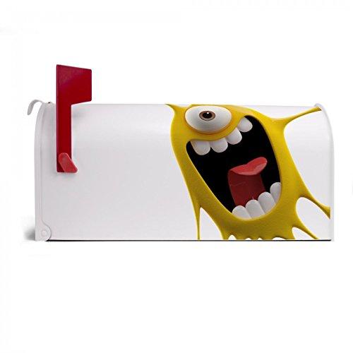 BANJADO US Mailbox | Amerikanischer Briefkasten 51x22x17cm | Letterbox Stahl weiß | mit Motiv Karl Splash, Briefkasten:mit schwarzem Standfuß - 3