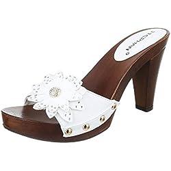 Damen Sandalen Pantoletten Sandaletten High Heels Blumen Plateau ST624 (36, Weiß)