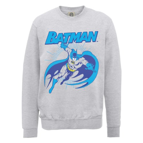 DC Comics Herren, Sweatshirt, DC0000556 Official Batman Leap grigio (Heather Grey)