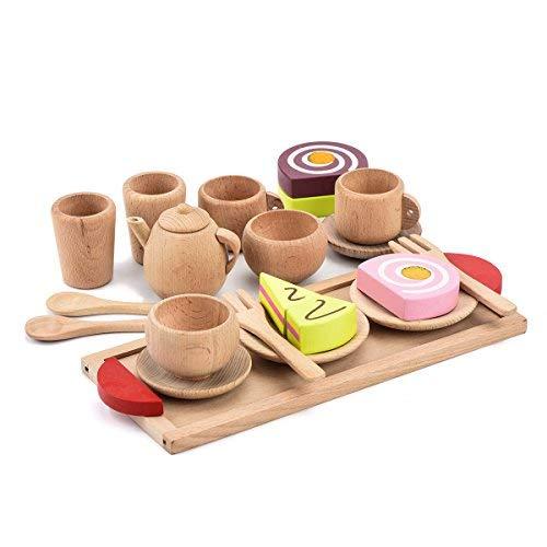 VOKOO- Juego de té de Madera, 18 Piezas, Juego de Comida y Juguete para la...