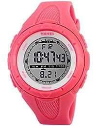 Ilove EU Mujer Chica Reloj de pulsera 50m resistente al agua banda de silicona digital LED Alarma Fecha reloj reloj deportivo cronómetro Rojo
