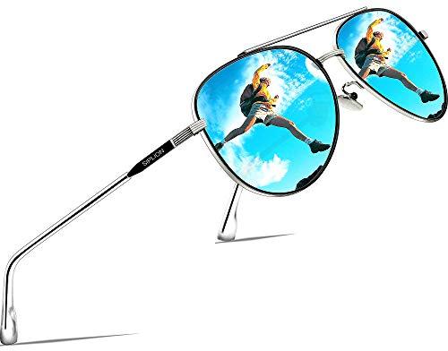 SIPLION Unisex Polarisiert Sonnenbrille Herren Damen Fahrerbrille Verspiegelt UV400 7077 Blue