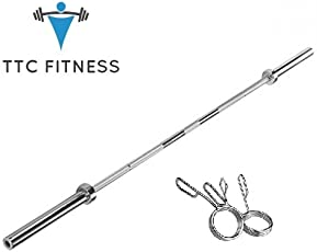 TTC Fitness 7 FT Olympic Barbell with Locks