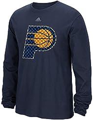 """Indiana Pacers Adidas NBA """"Tech Quilt"""" Premium Print L/S Men's T-Shirt Chemise"""
