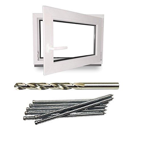 Kellerfenster - Kunststoff - Fenster - weiß -BxH: 80x40cm - BxH: 800x400 mm - Rechts + Schrauben + Bohrer
