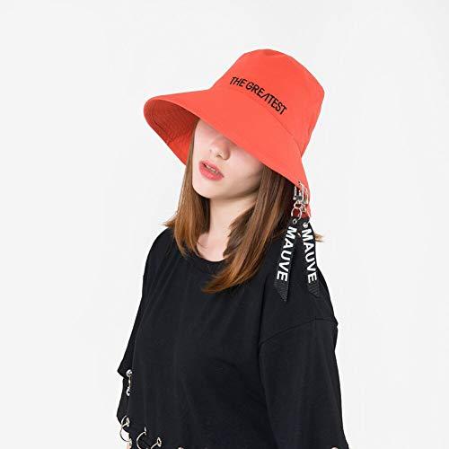 CGXBZA Mode Persönlichkeit Weibliches Band Brief Becken Kappe Sommer Und Frühling Neue Flat Top Big Brim Bucket Hats -
