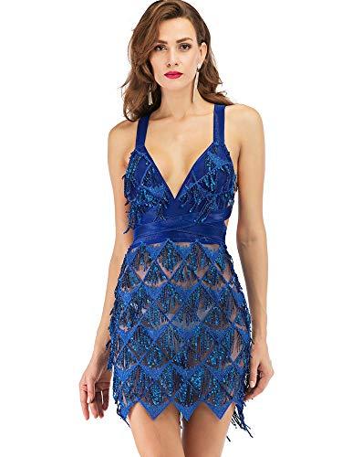 Rocke Frauen, Latin Dance kostüm quaste Pailletten ärmellos rückenfrei hohe Taille blau rot sexy Halfter Kleid für (Farbe : Blue, Size : S) (Einfache Rumba Kostüm)