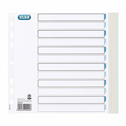 ELBA 400012104 Tauenpapier-Register für DIN A4 blanko 12 Taben 12-teilig teildeckend hellgrau Karton Ringbuch Ordner Ring-mappe Ringbuch Hefter Blauer Engel -