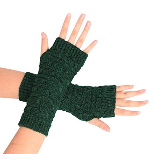 Damen-Handschuh, Sannysis Gestrickte Fingerhohl Warm Fäustlinge (Grüne Lange Handschuhe)