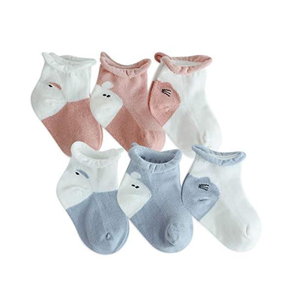 DORRISO 6 Pares Calcetines Bebe Linda Niños Niñas Calcetines De Algodón Cómodo Suave Absorben el Sudor Bebe 0-4 años de… 1