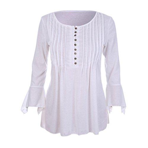 MRULIC Geschenk Zum MuttertagWomen Autumn Flare 3/4 Sleeve Slim V Neck Buttons Blouse Tops Tee Shirt(Weiß,EU-40/CN-L) (Strickjacke Schwarz 3/4 In Sleeve)