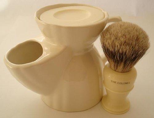 Simpsons Colonel Best Badger shaving brush & shaving mug by Progress Vulfix -