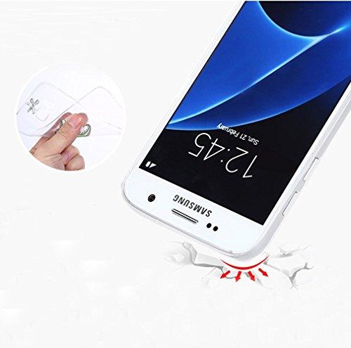 Sunroyal® Custodia per Samsung Galaxy S7 Edge G9350 SM-G935 Protettiva Cover Universale di Ultra Sottile TPU Morbido Antigraffio Trasparente Cristallo Chiaro e Shock-Absorption Bumper Case Posteriore  Pattern 02