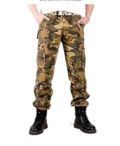Voguehive–Pantalon–Cargo–Effet Décoloration–pour Homme - Jaune -