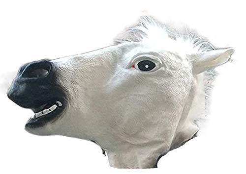 QSAC Ostern Halloween braun weißes Pferd Kopf Maske Pferd Kopf Abdeckung- White Horse - White Horse Head Kostüm