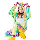 lujiaoshout Unicornio Cosplay Pijamas Animal Pijamas de Disfraces Unisex Cartoon Outfit Ropa de Dormir de Navidad Mono Regalo para niños y Adultos - Color del Arco Iris Tamaño XL