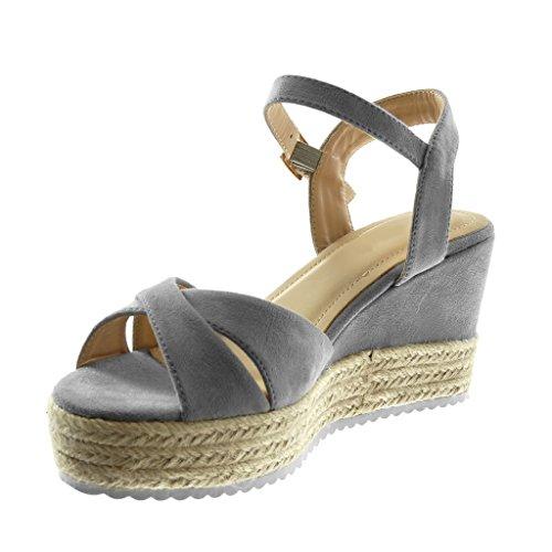 1efc55c8784a41 Basket Plateforme Gris Cheville Angkorly 8 Femme Lanière 5 Mode Corde Mule Chaussure  Cm Semelle Tréssé Compensé Talon Sandale xqWnY8Rgq