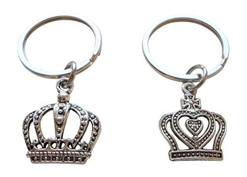 Silber Ton König und Königin Krone Schlüsselbund Set - König & Königin; Paare Schlüsselbund
