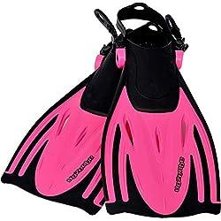 AQUAZON Palmes pour Enfants Alicante, Palmes de plongée réglables, idéales pour la plongée au Tuba, la plongée ou comme Palmes de Natation, Palmes de plongée au Tuba, Size:27/31, Colour:Pink
