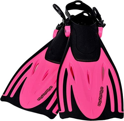 AQUAZON Alicante Verstellbare Flossen, Schnorchelflossen, Taucherflossen, Schwimmflossen für Kinder und Erwachsene zum Schnorcheln, Schwimmen, Größe:32/37, Farbe:pink