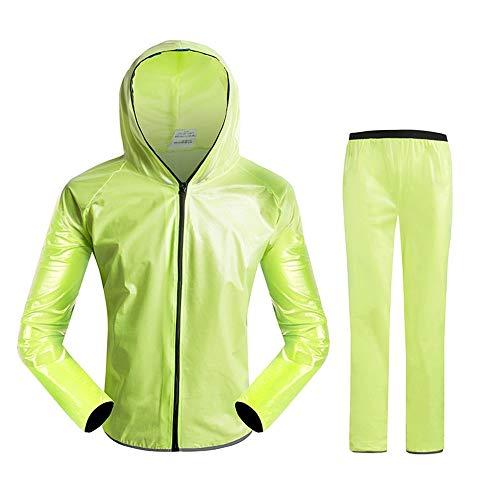 GWELL Unisex Regenanzug Wasserdicht Winddicht Regenjacke + Regenhose Regenbekleidung Set Grün 3XL -