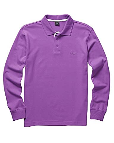 Cotton Traders Long Sleeve Polo Shirt Unisex Ladies Mens Collared Button Neck Thistle LG